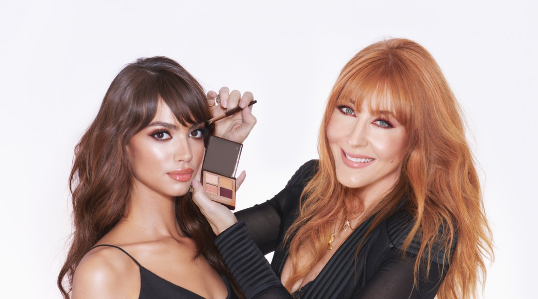 The new Charlotte Tilbury Queen of Glow Luxury Palette on model