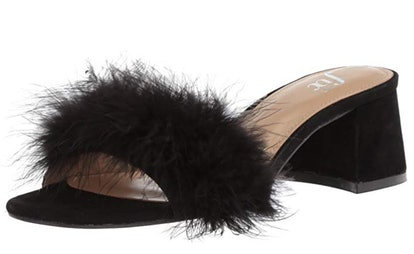 The Fix Women's Luisa Single Strap Feather Block Heel Mule