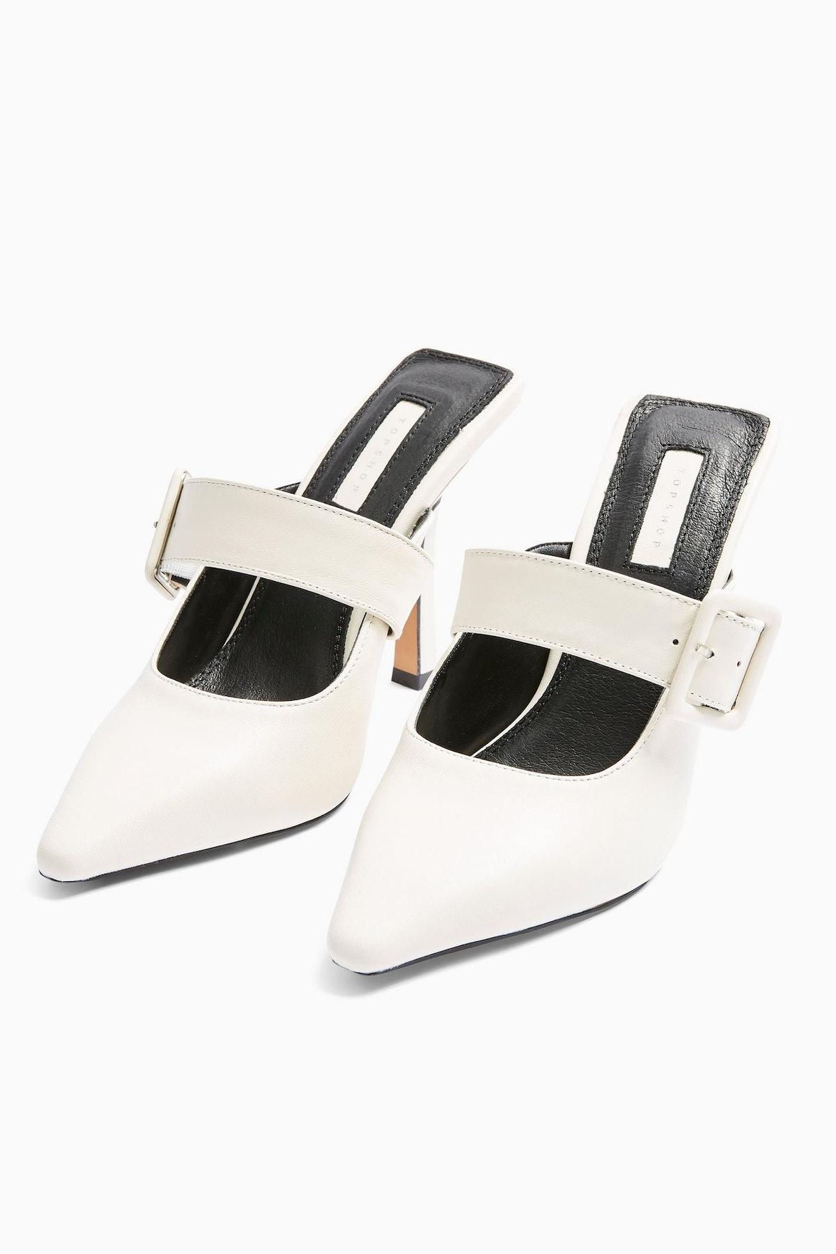 GLITZ White Leather Buckle Mules