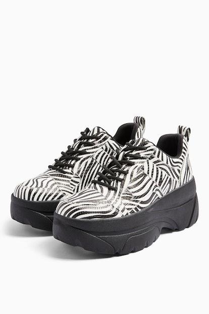 CALI Black And White Zebra Print Chunky Trainers