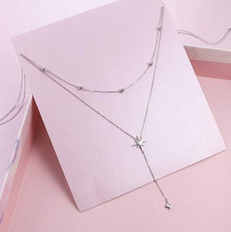 YinShan 925 sterling Silver Cubic Zirconia Star Pendant Necklace