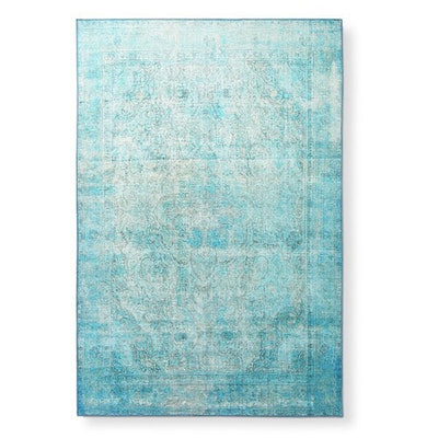 Traditional Distressed Aqua Blue Printed Rug