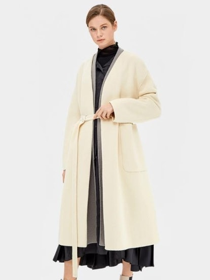 Point Color Cashmere Wool Handmade Coat Cream