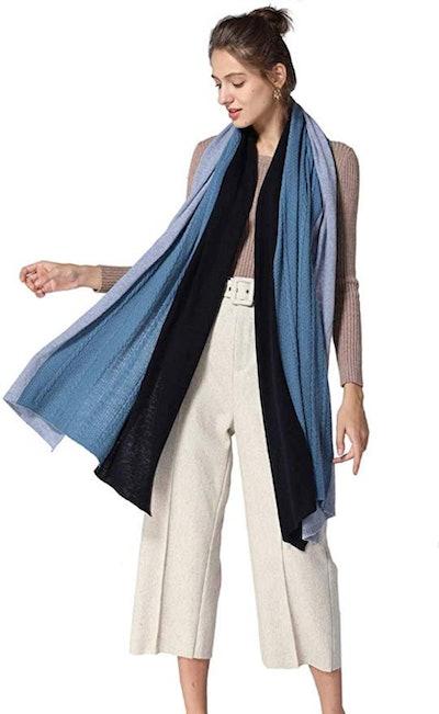 Fincati 100% Goat Cashmere Contrast Color Wrap