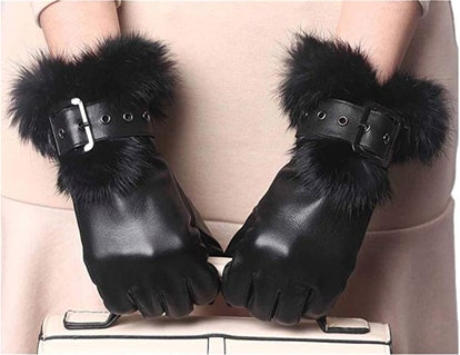 YISEVEN Womens Sheepskin Leather Gloves With Fur Cuff