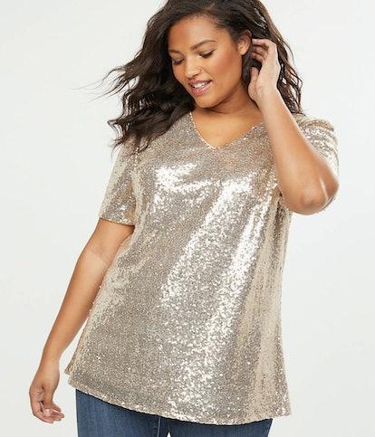 Gold Sequin V-Neck Top