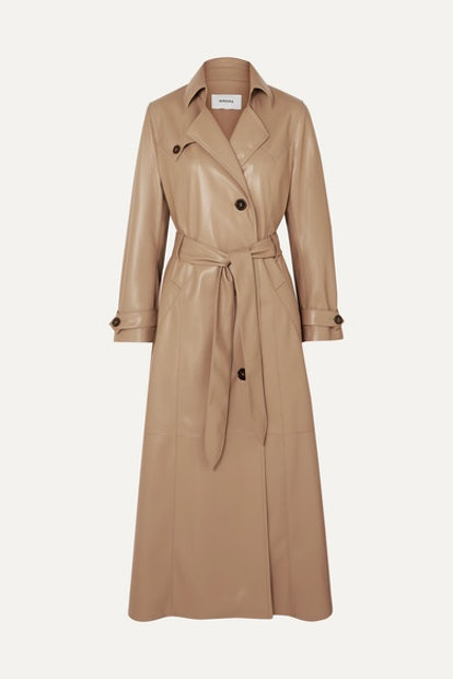 Chiara Belted Vegan Leather Trench Coat