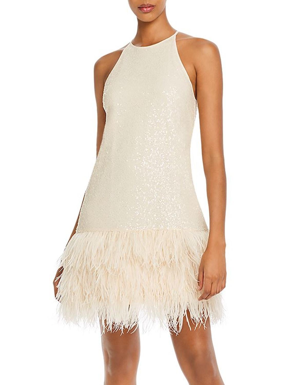 Lucy Paris Margo Faux-Feather Trim Sequined Dress