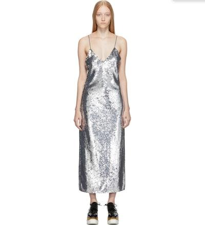 Silver Sequin Midi Dress