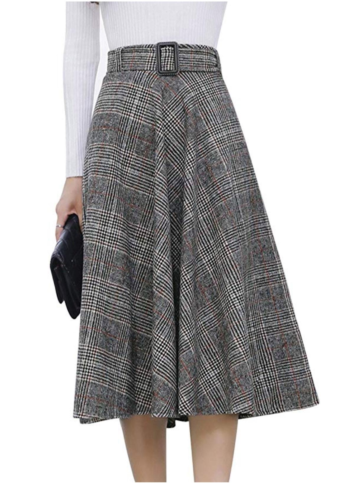 Firehood Women's Vintage Midi Swing Skirt