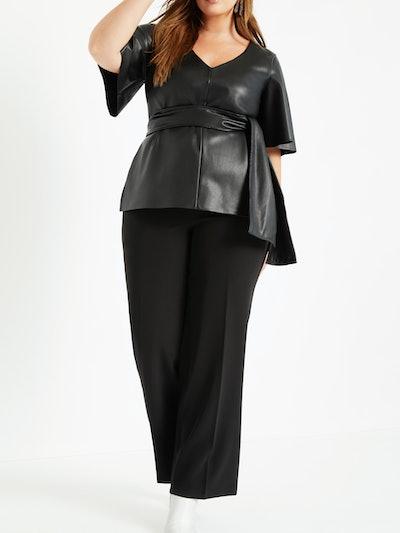 Eloquii Women's Plus Size Faux Leather Tie Waist Top