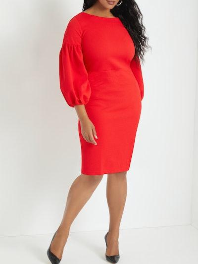 Eloquii Women's Plus Size Puff Sleeve Bodycon Dress
