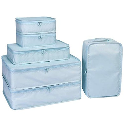 JJ POWER Travel Packing Cubes and Shoe Bag (6-Pack)