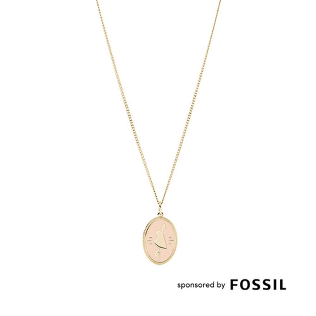 Heart And Arrow Gold -Tone Steel Pendant