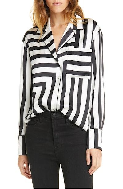 Mixed Stripe Silk PJ Blouse