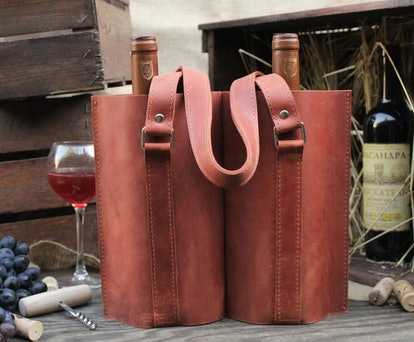 Leather Wine Tote Bag