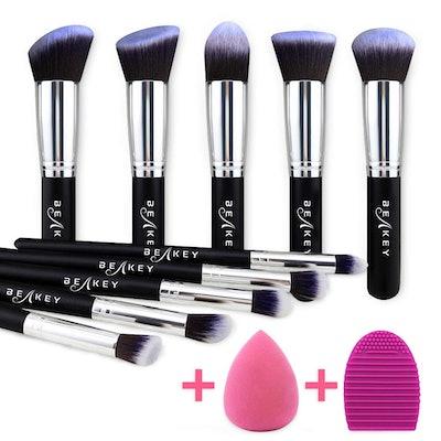 BEAKEY Makeup Brush Set with Blender Sponge and Brush Cleaner (12 Pieces)