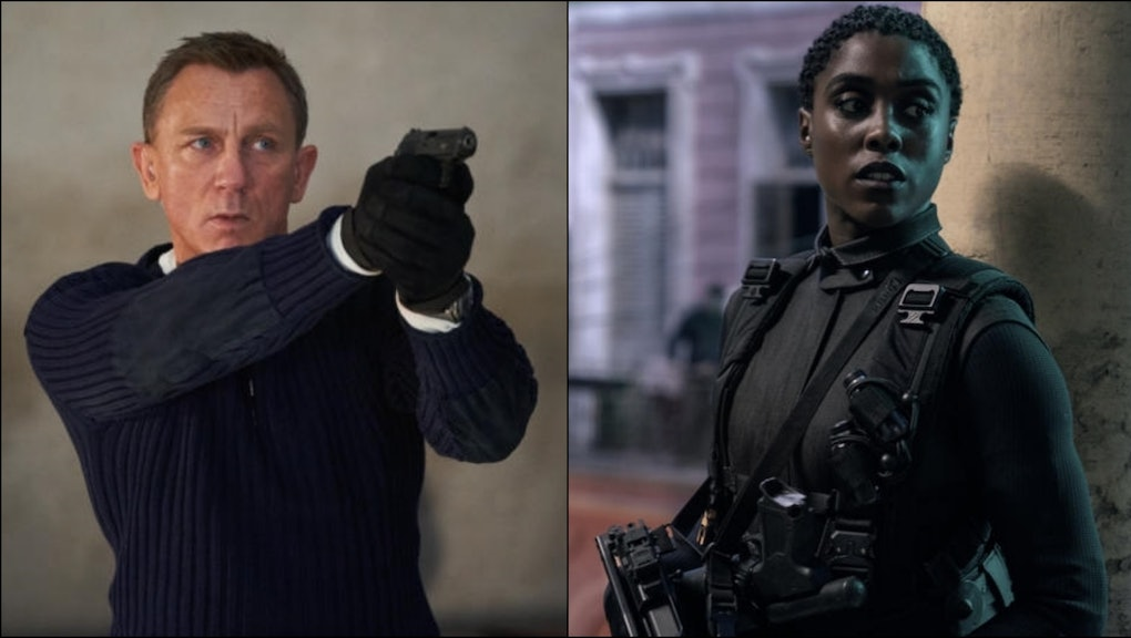 007 new and old: Daniel Craig as James Bond and Lashana Lynch as Nomi, a '00' agent.