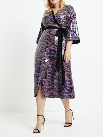 Eloquii Women's Plus Size Printed Sequin Midi Wrap Dress