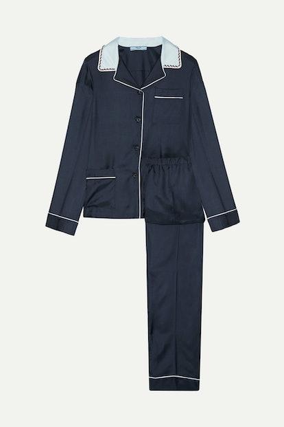 Embellished Silk-Twill Pajama Set