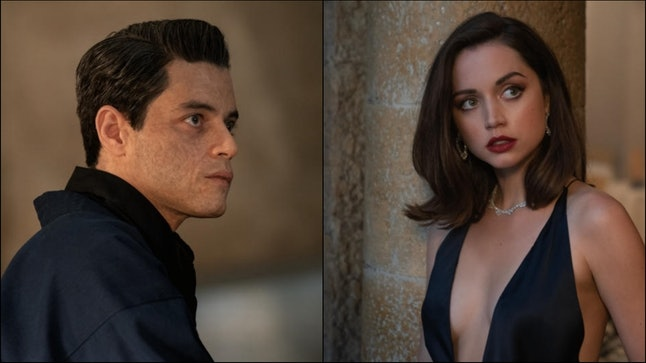 Rami Malek as Safin, the villain, and Ana de Armas as Paloma, a modern Bond girl.