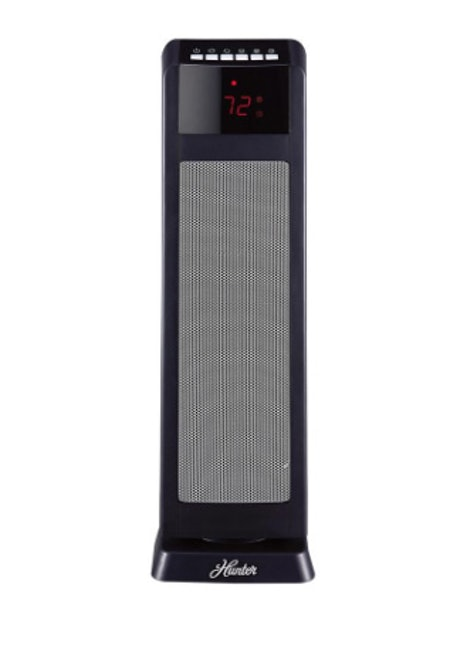 Hunter 24 in. 1500-Watt Digital Ceramic Tower Heater with Remote Control