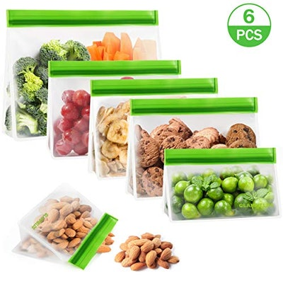 GLAMFIELDS Stand up Reusable Food Storage Bags (6-Pack)