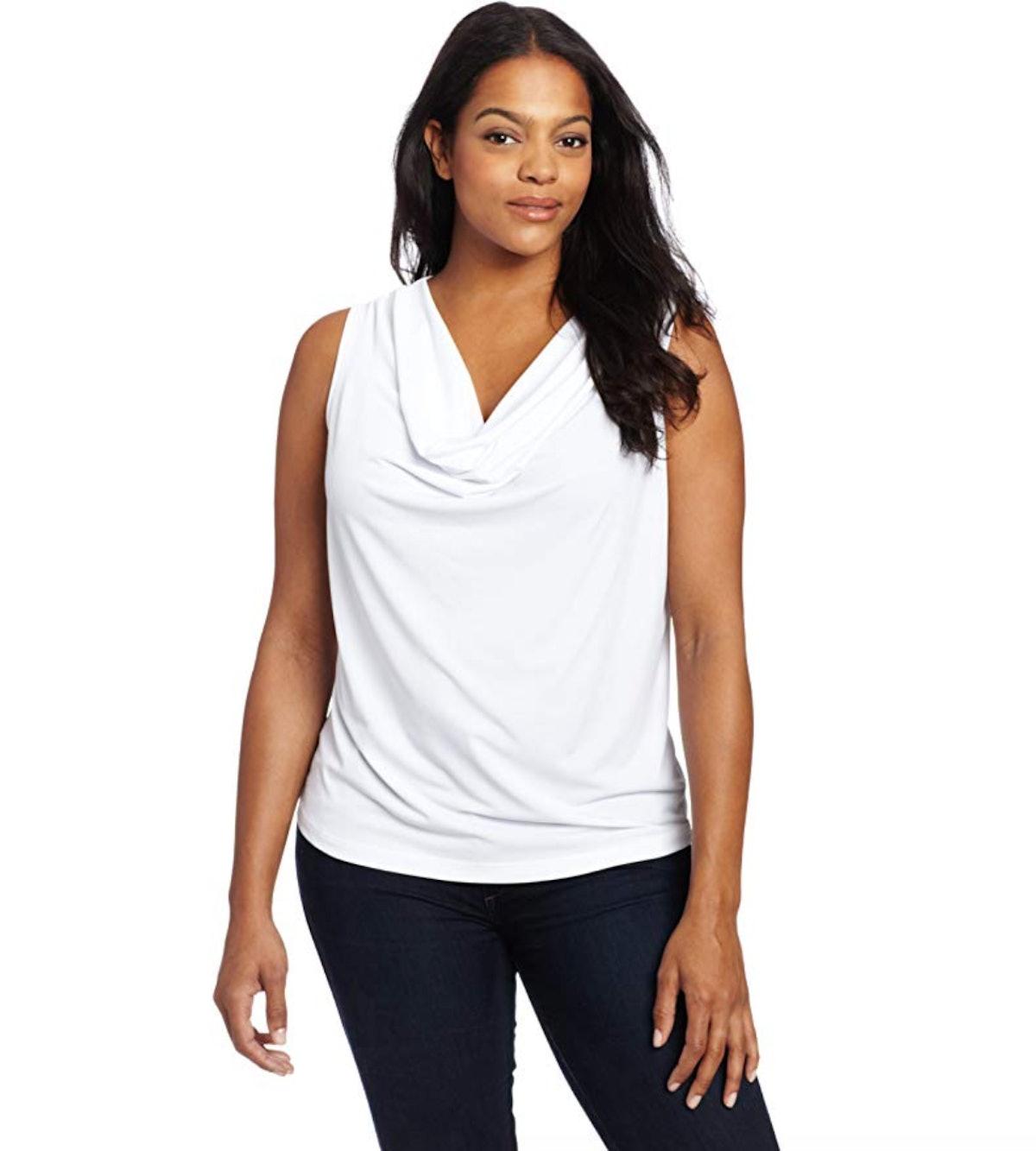 Calvin Klein Women's Plus-Size Solid Cowl-Neck Blouse