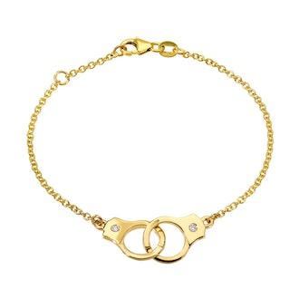 Handcuff Bracelet with Single Diamonds