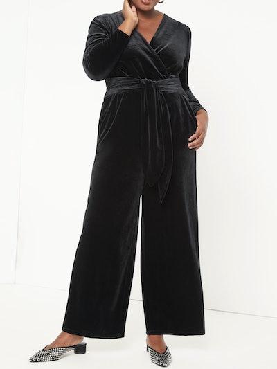 Eloquii Women's Plus Size Tie Front Wrap Velvet Jumpsuit