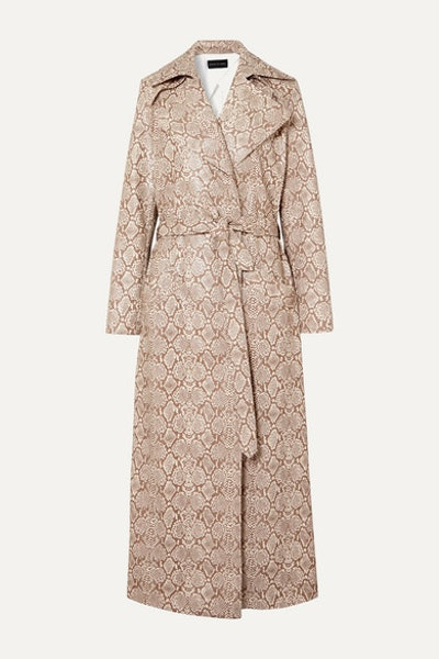 Snake-Effect Faux Leather Trench Coat