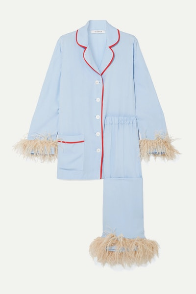 Satin and Feather-Trimmed Crepe de Chine Pajama Set