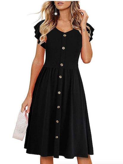 Lamilus Women's Button Down Swing Dress