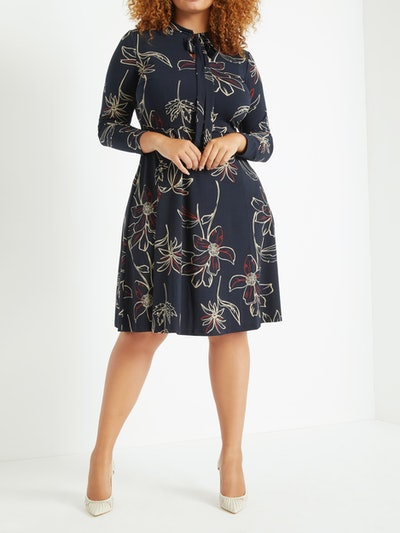 Eloquii Women's Plus Size Tie Neck Midi Dress