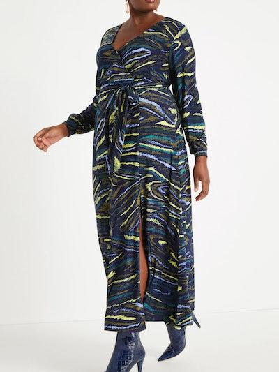 Eloquii Women's Plus Size Printed Kimono Style Maxi Dress