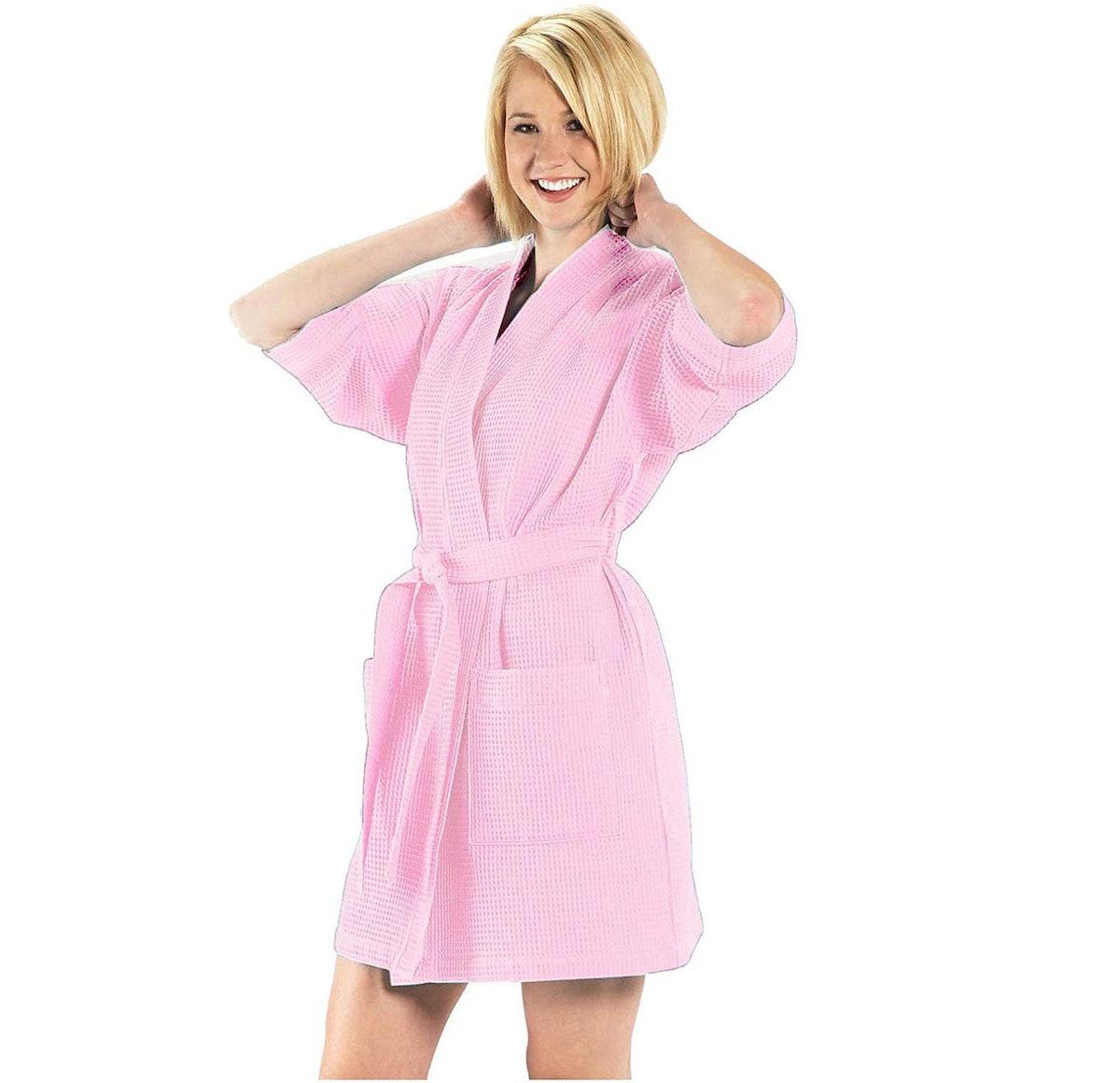 BY LORA Thigh Length Waffle Short Robe