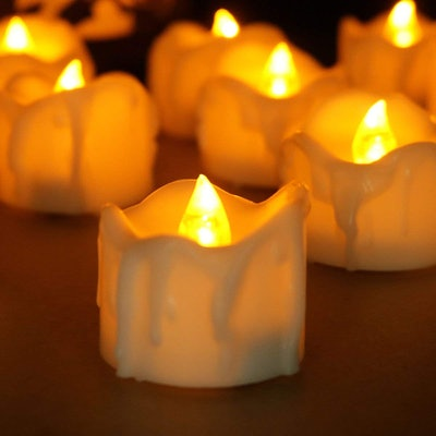 Youngerbaby Amber Yellow Flickering Flameless Candles (12-Pack)