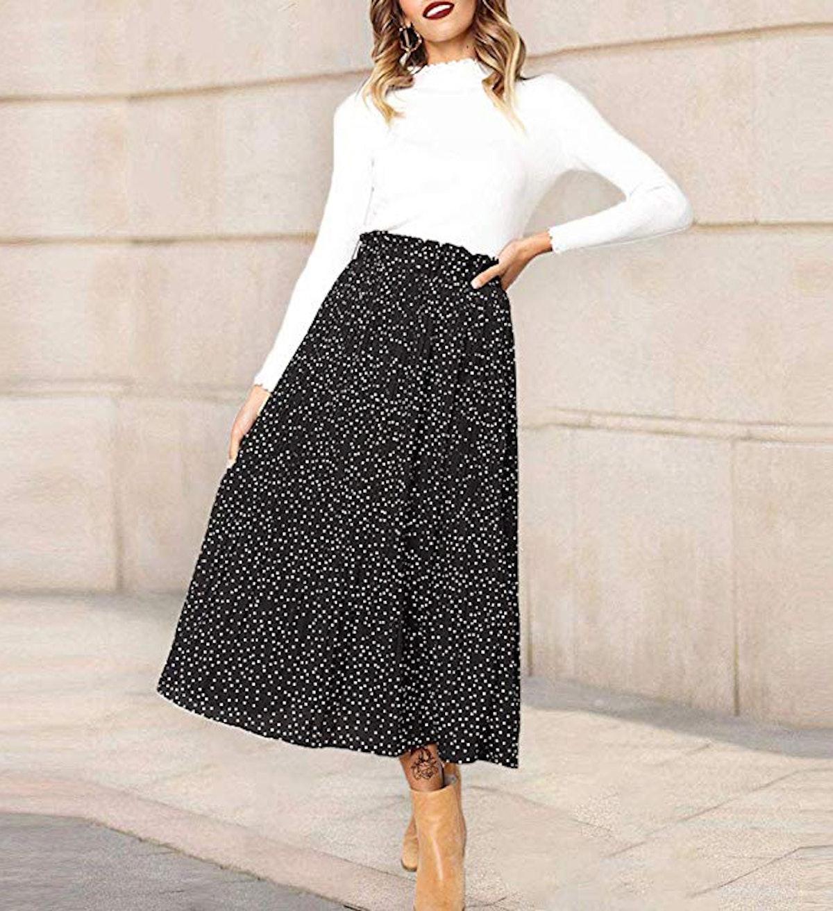 Exlura Womens High Waist Pleated Midi Swing Skirt with Pockets
