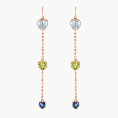 Blue Heart Long Earrings