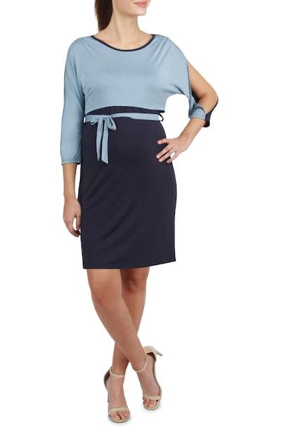 Sienna Two-Tone Maternity/Nursing Sheath Dress