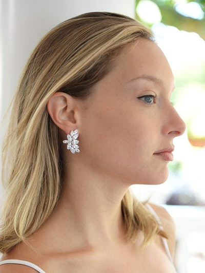 Mariell Cubic Zirconia Marquis-Cut Cluster Earrings