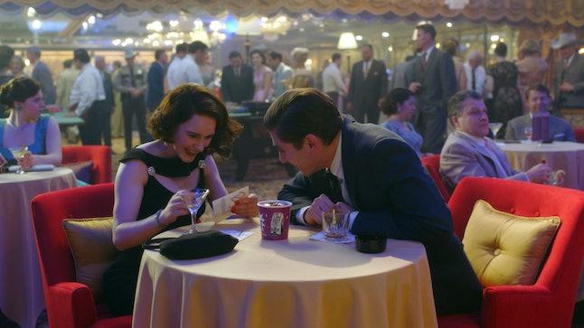Midge (Rachel Brosnahan) and Joel (Michael Zegen) reconnect in Las Vegas in 'The Marvelous Mrs. Maisel' Season 3.