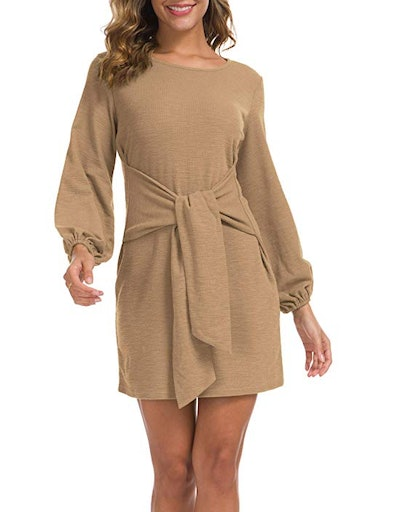 Lionstill Women's Tie Waist Sweater Dresses