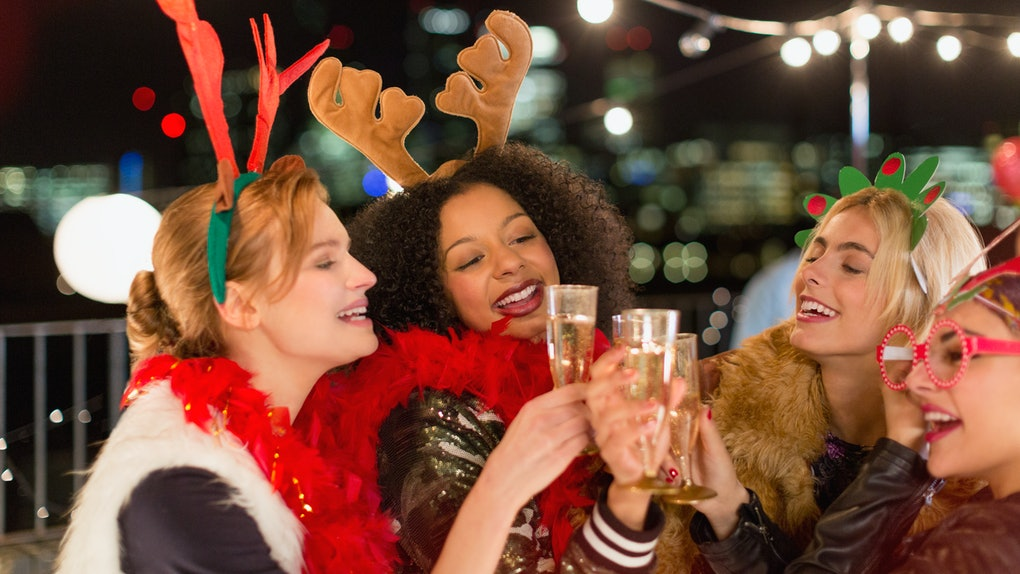 Four women at Christmas party