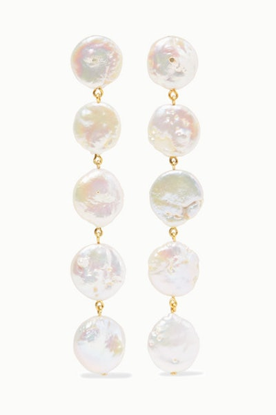 Gold-Plated Pearl Earrings