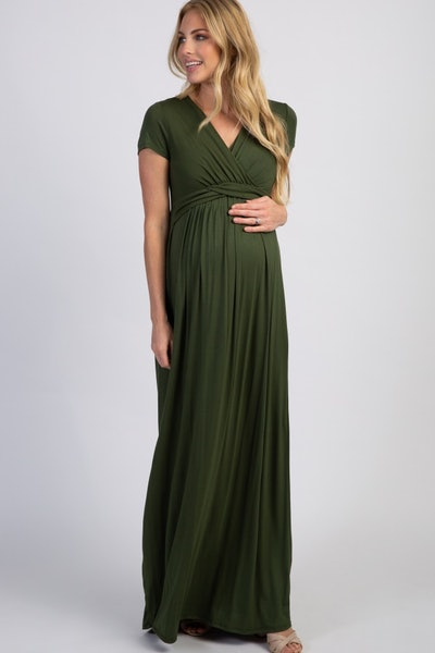 Draped Maternity/Nursing Maxi Dress
