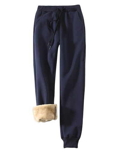 Yeokou Women's Warm Sherpa-Lined Sweatpants