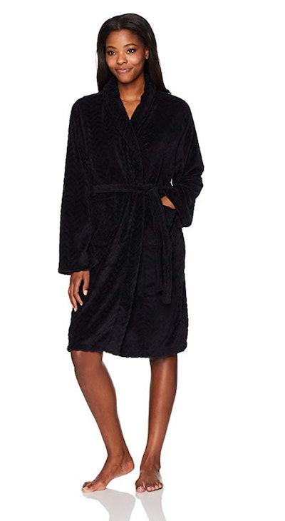 Hotel Spa Seven Apparel Herringbone-Textured Plush Robe