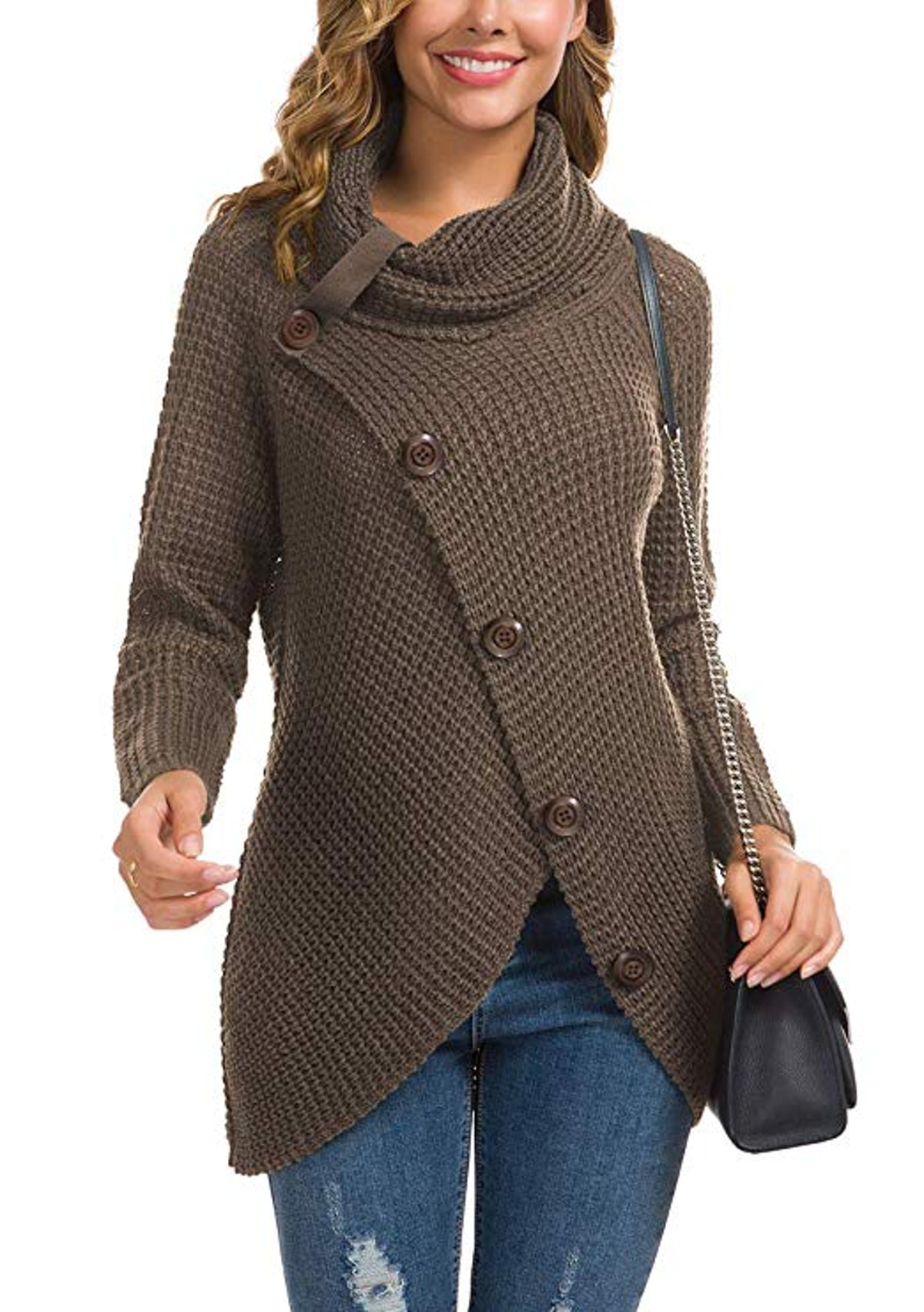 GRECERELLE Women's Asymmetric Hem Wrap Pullover Sweater