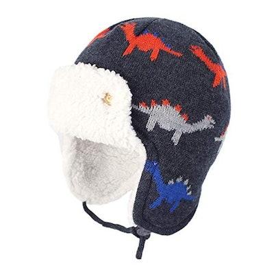 Zando Baby Boy Sherpa Lined Warm Fleece Pilot Hat